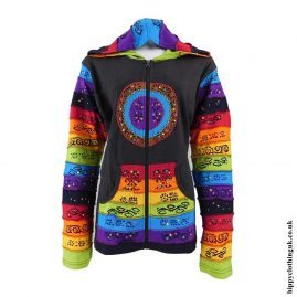 Brown-Rainbow-Circle-Hooded-Jacket