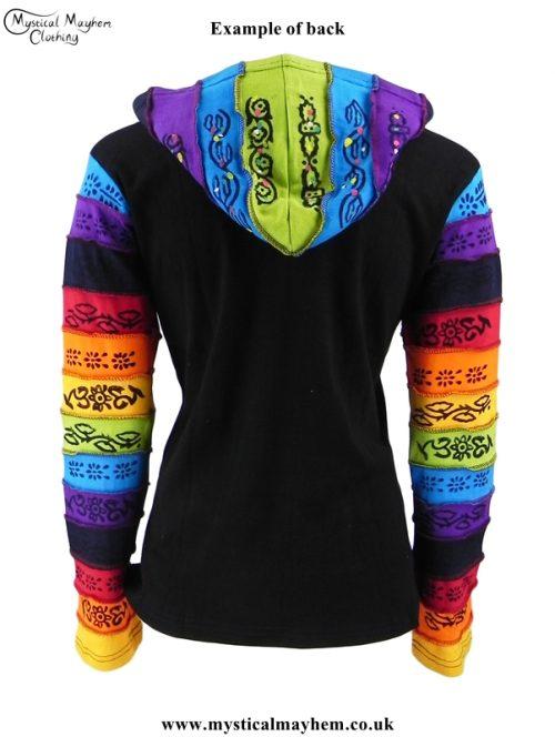 Circle Pattern Rainbow Hooded Hippy Festival Jacket Back