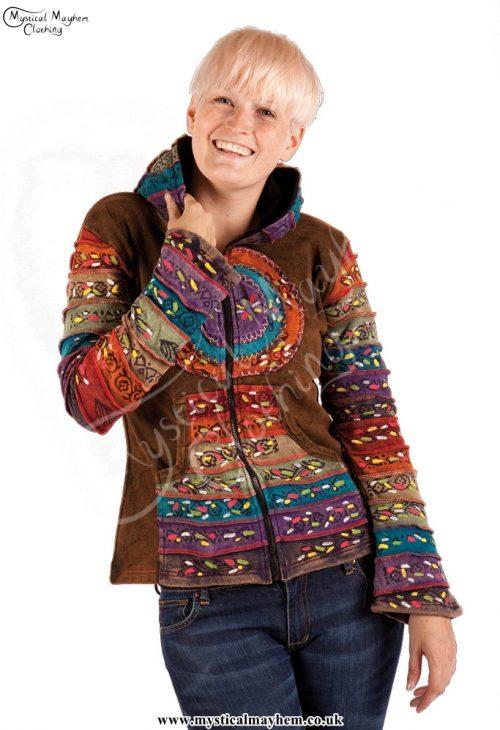 Circle Pattern Rainbow Hooded Hippy Festival Jacket Example