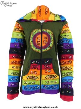 Green Circle Pattern Rainbow Hooded Hippy Festival Jacket