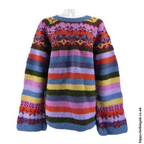 Multicoloured-Striped-Wool-Swedish-Style-Jumper