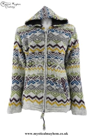 Patterned Nepalese Wool Hippy Jacket, Multicoloured
