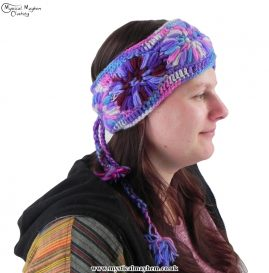 Purple Hand Knitted Hippy Wool Headband with Fleece Lining