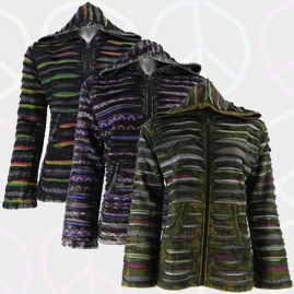 Ripped Look Cotton Jackets with Colour Stripes