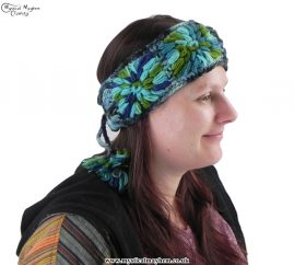 Turquoise Hand Knitted Hippy Wool Headband with Fleece Lining