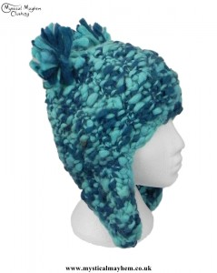 Turquoise Wool Bear Over the Ear Hat