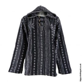 Black-Thick-Weave-Hooded-Jacket-1