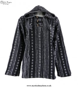 thick-weave-brush-cotton-hippy-pullover-jacket-black-and-white