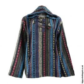 Turquoise-Mix-Thick-Weave-Hooded-Jacket