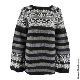 Black-and-Grey-Striped-Wool-Swedish-Style-Jumper