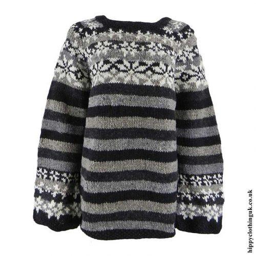 Black-and-Grey-Striped-Wool-Swedish-Style-Jumper