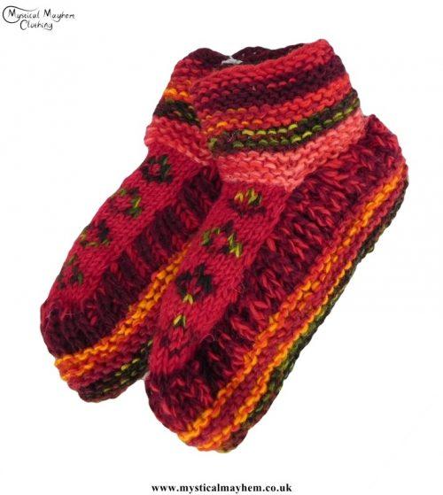 nepalese-short-wool-socks-red