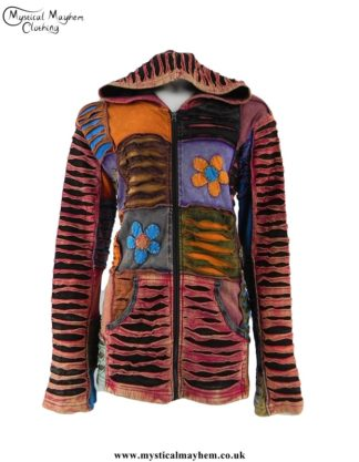 multicoloured-ripped-look-patchwork-hooded-hippy-jacket