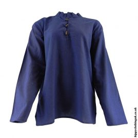 Blue-Plain-Collarless-Grandad-Shirt