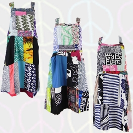 Dungaree Style Patchwork Dress
