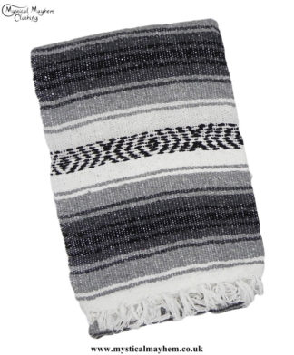 Gray,-Black,-White-Mexican-Falsa-Blanket,-Rug,-Throw,-Bed-Spread,-Picnic-Blanket