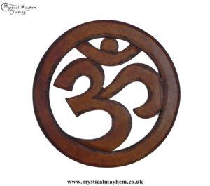 Hand Carved Round Wooden Om