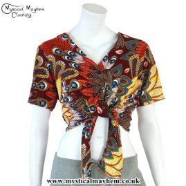 Multicoloured Tropical Print Tie Crop Top/Blouse