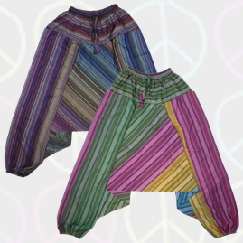 Striped Patchwork Harem Ali Baba Trousers