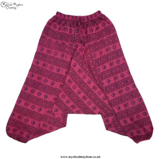 Hippy Pink Printed Pattern Harem Trousers