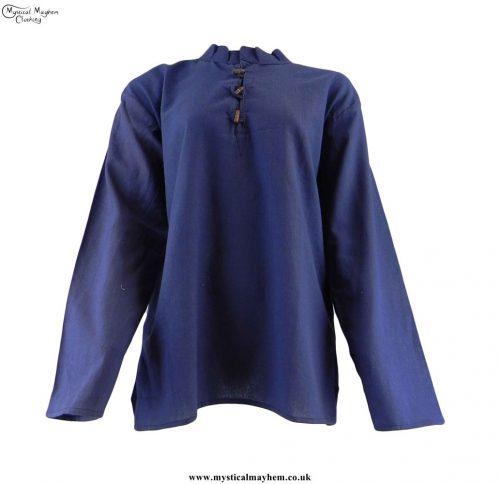 Hippy Plain Cotton Grandad Shirt - Blue