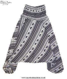 Elephant-Pattern-Hippy-Style-Harem-Ali-Baba-Trousers---Black-and-White