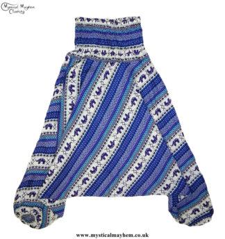 Elephant-Pattern-Hippy-Style-Harem-Ali-Baba-Trousers---Blue