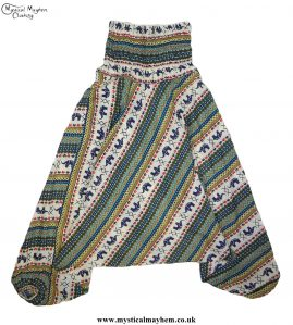 Elephant-Pattern-Hippy-Style-Harem-Ali-Baba-Trousers---Green