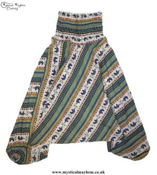 Elephant-Pattern-Hippy-Style-Harem-Ali-Baba-Trousers---Green