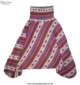 Elephant-Pattern-Hippy-Style-Harem-Ali-Baba-Trousers---Pink-and-Red
