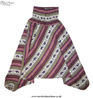Elephant-Pattern-Hippy-Style-Harem-Ali-Baba-Trousers---Purple,-Pink,-Green