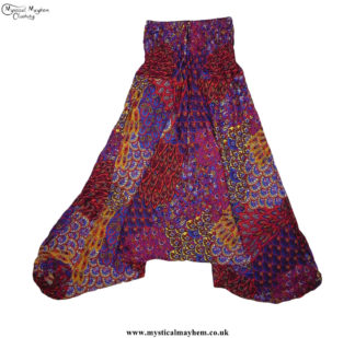 Funky-Pattern-Hippy-Style-Harem-Ali-Baba-Trousers-Red,-Burgundy