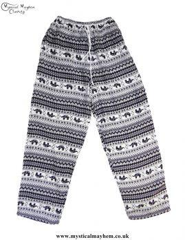 Hippy-Thai-Elephant-Printed-Drawstring-Trousers-Black-and-White