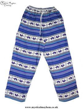 Hippy-Thai-Elephant--Printed-Drawstring-Trousers-Blue
