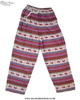 Hippy-Thai-Elephant--Printed-Drawstring-Trousers-Burgundy-and-Pink