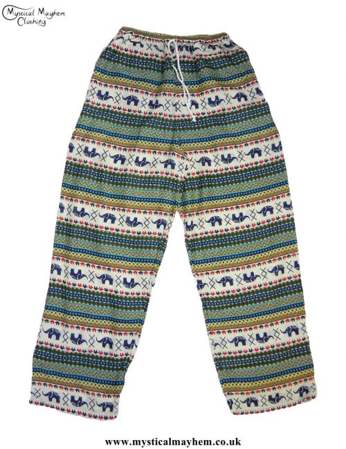 Hippy-Thai-Elephant--Printed-Drawstring-Trousers-Green