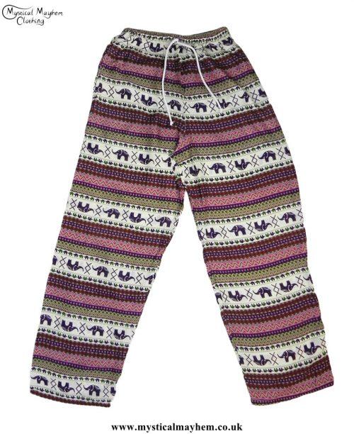 Hippy-Thai-Elephant-Printed-Drawstring-Trousers-Pink-,-Purple,-Green