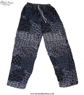 Hippy-Thai-Printed-Pattern-Drawstring-Trousers-Black-and-White