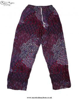 Hippy-Thai-Printed-Pattern-Drawstring-Trousers-Red