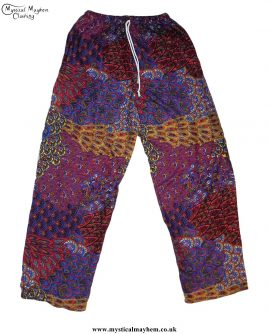 Hippy-Thai-Printed-Pattern-Drawstring-Trousers-Red-and-Rust
