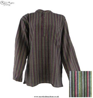 Neaplese-Cotton-Striped-Grandad-Shirt-Black-Colour-Mix