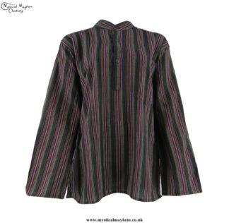 Neaplese-Cotton-Striped-Grandad-Shirt-Green,-Burgundy,-Yellow-and-Black