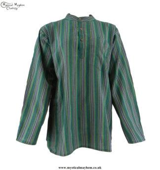 Neaplese-Cotton-Striped-Grandad-Shirt-Green-&-Yellow
