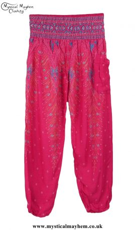 Hippy Style Harem Genie Trousers with Peacock Feather Print