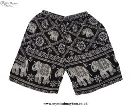 Thai-Male-Hippy-Rayon-Long-Shorts-Black