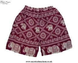 Thai-Male-Hippy-Rayon-Long-Shorts-Burgundy