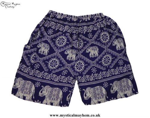 Thai-Male-Hippy-Rayon-Long-Shorts-Dark-Blue