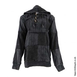 Charcoal-Cotton-Patchwork-Hooded-Hippy-Shirt