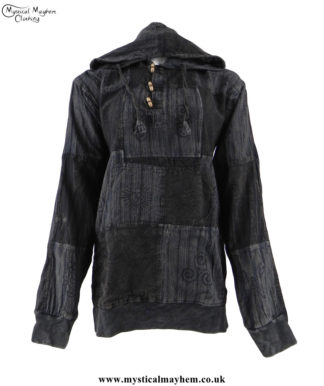 Charcoal-Overdyed-Cotton-Patchwork-Hooded-Hippy-Shirt