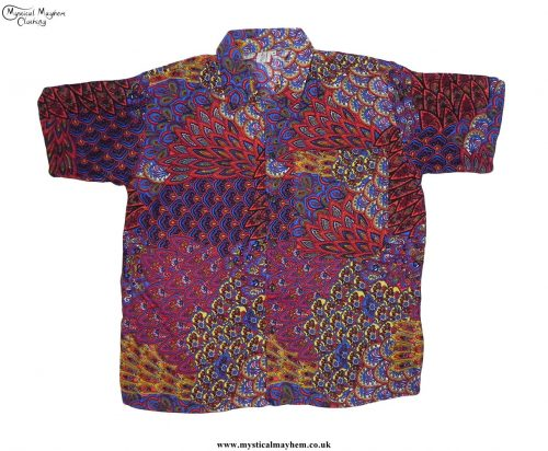 Funky-Patterned-Thai-Short-Sleeve-Shirts---Red